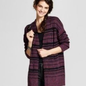 Mossimo Distressed Cardigan in Purple Black Stripe